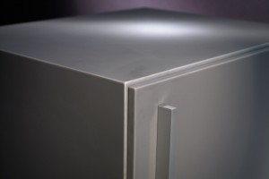The Cube is Shield's most affordable solid surface cabinet option.