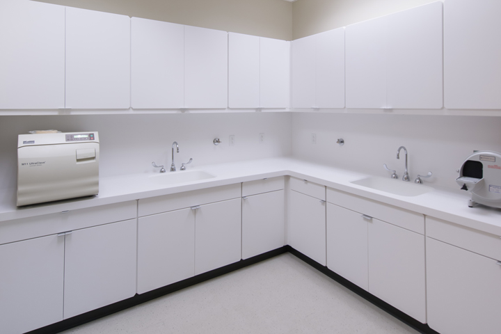 Shield manufactured solid surface casework for Dental Academy for Children. The academy knew the importance of high-quality medical casework, so they chose solid surface products.