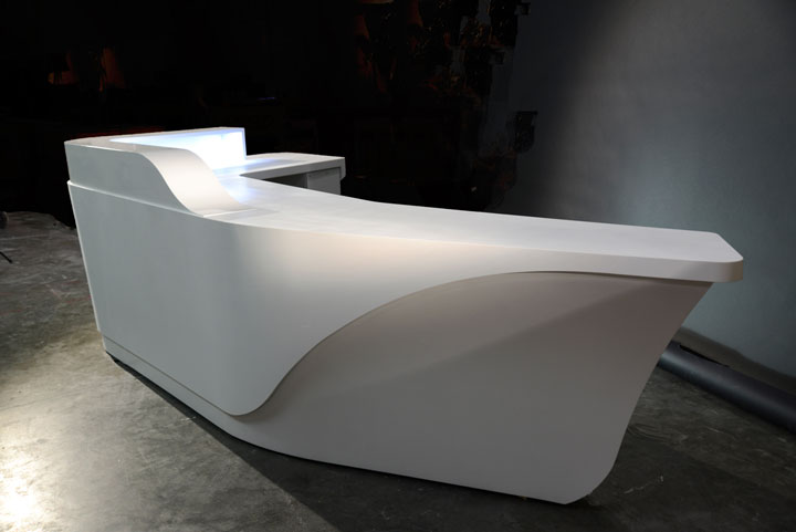 Custom solid surface reception desk